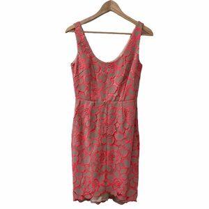 NEW Trina Turk Nude Coral Lace Sleeveless Dress 2